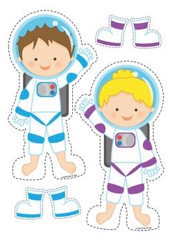 Space Preschool Centers. Match the colored boots to the correct astronaut.