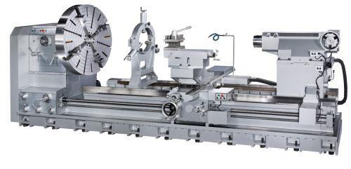 """Sharp Industries' M series of Sharpe Industries' M Series large-swing, big-bore manual lathes is suitable for large oil pipe work, heavy shaft turning jobs and large-diameter steel rods.  The series includes lathes with swings of 40"""", 50"""", 60"""", 70"""" and 80""""; distance between centers ranging from 60"""" to 315""""; and spindle bores sizes of 6"""", 9"""" and 12""""."""