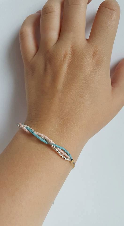 Braided Multi-Color Pastel Bracelet // Braided Jewellery // Pastel Colors by…