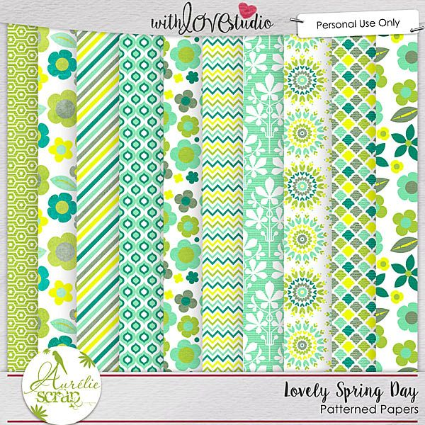 """Patterned Papers """"Lovely Spring Day"""" by Aurélie Scrap. Colors which bring up spring... It contains : 10 patterned papers"""