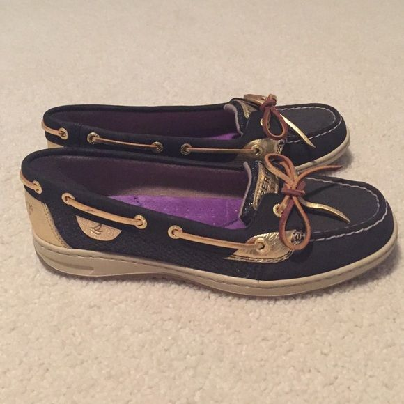 Women's Sperry Angelfish Black nubuck/black glitter sperrys. Only worn a couple of times. New condition Sperry Top-Sider Shoes Flats & Loafers