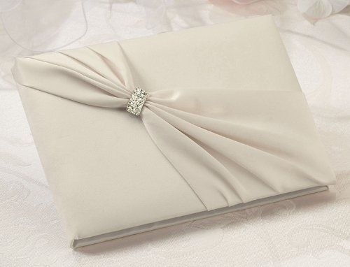 Lillian Rose Satin Rhinestone Guest Book, 8.5-Inch, Ivory:Amazon:Home & Kitchen