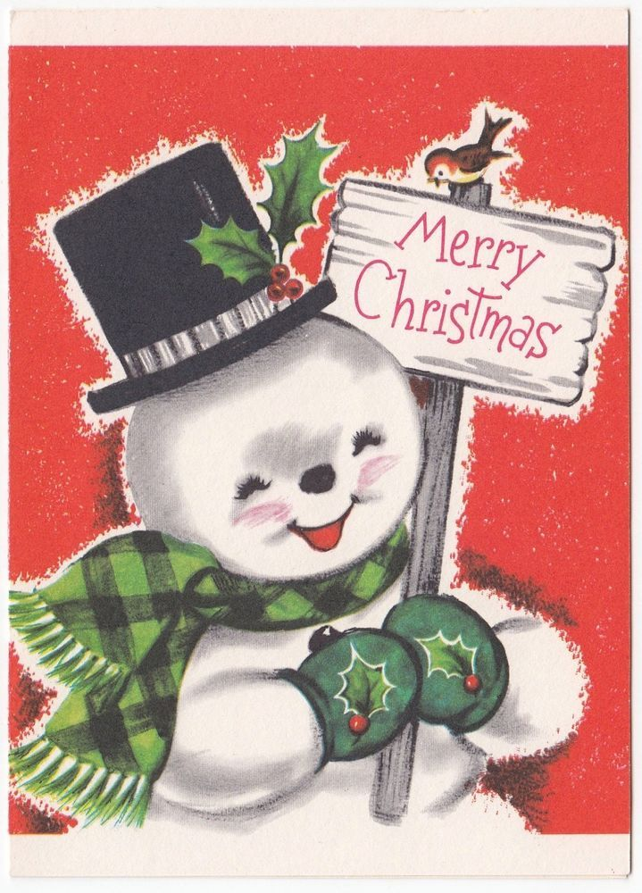 UNUSED Vintage Greeting Card Christmas Cute Cheerful Snowman Hampshire
