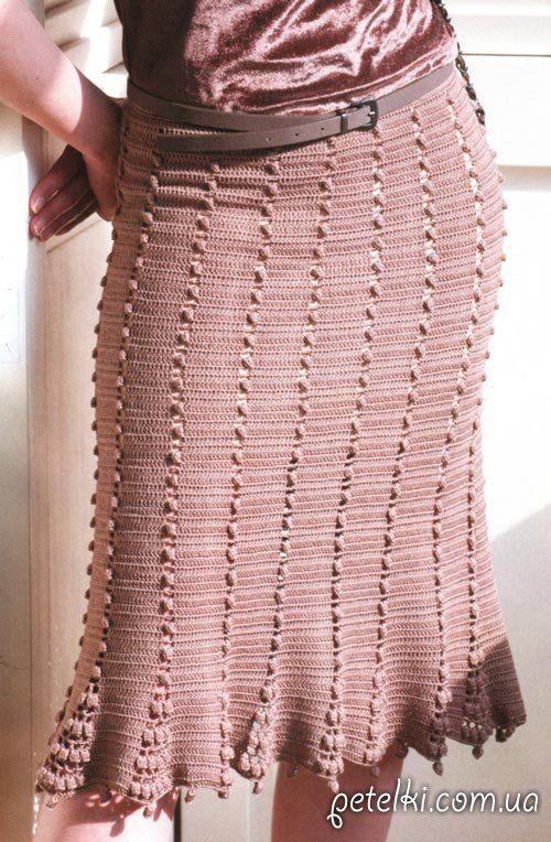 Строгая юбка крючком. Описание, схема