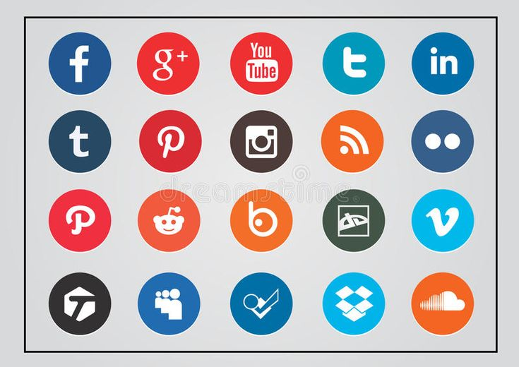 Social technology and media icon set rounded. Social