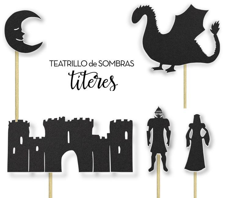 Imprimible gratuito para el teatrillo de sombras. Títeres de la Leyenda de Sant Jordi (San Jorge): caballero, rey, princesa, castillo, montañas, vaca, caballo, cerdo, gallo, sol, luna. Perfectos pa…
