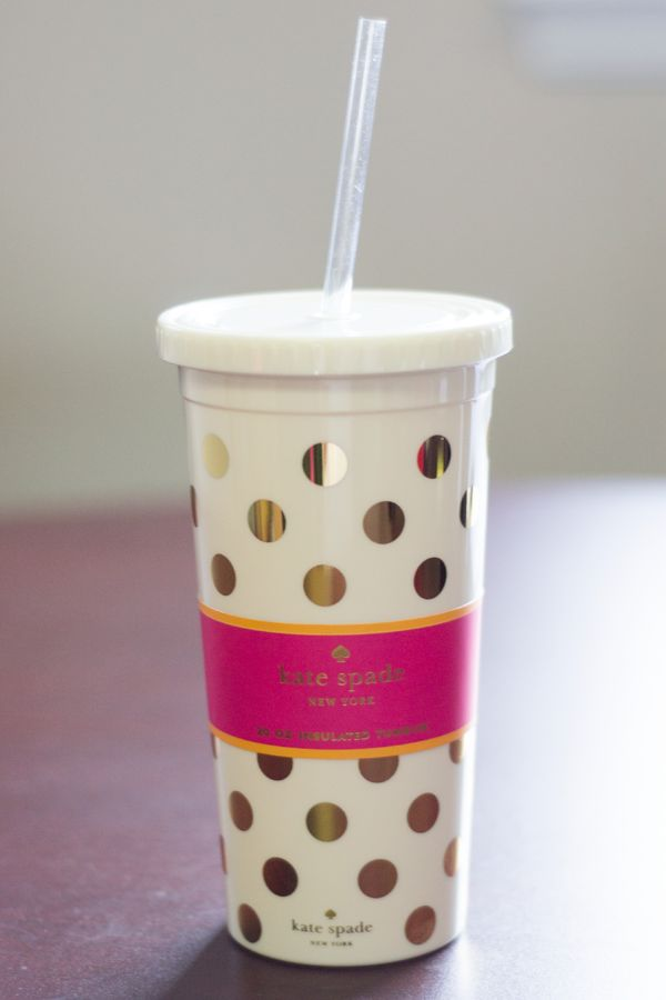 Kate Spade Tumbler with Straw Gold Dots