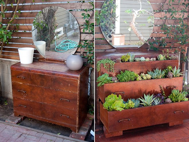 I have an old dresser in my bedroom that I don't like at all, but keep because I need it. When moving to the new place I hopefully wont need it as there will be much more wardrobes than in this old place. So I am thinking of maybe doing something like this with it. Could look cute on the balcony. And I love the idea of recycling :D