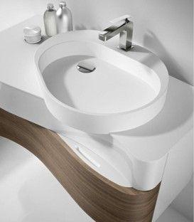 Mobile Onda con top e lavabo in Corian