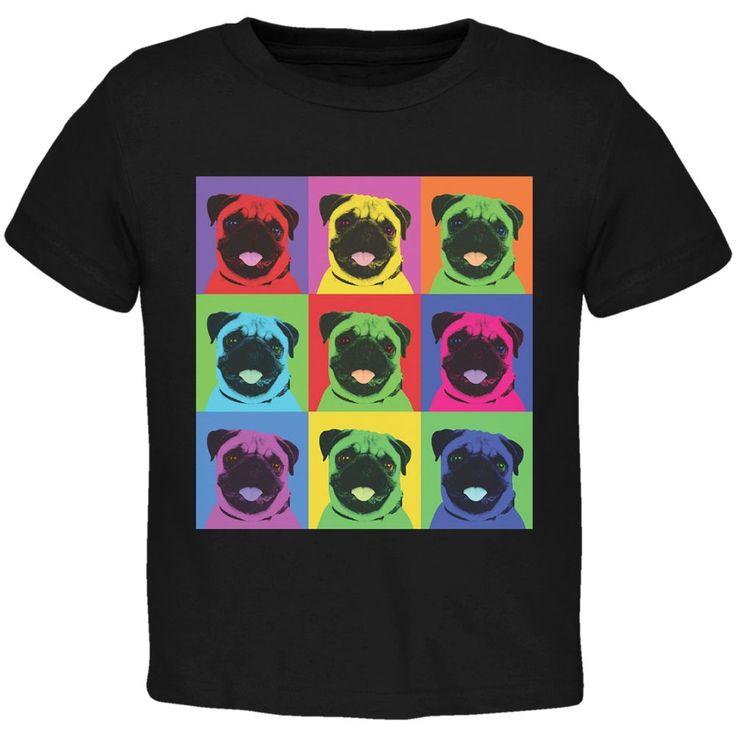 Pug Pop Art Repeating Squares Black Toddler T-Shirt
