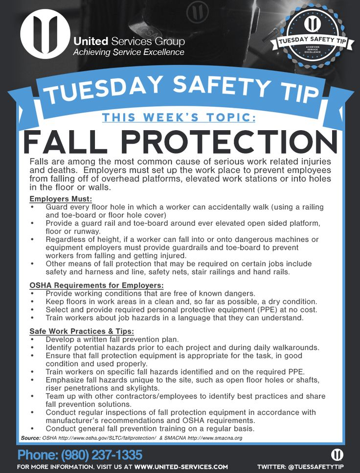 This week's Tuesday Safety Tip is about Fall Protection