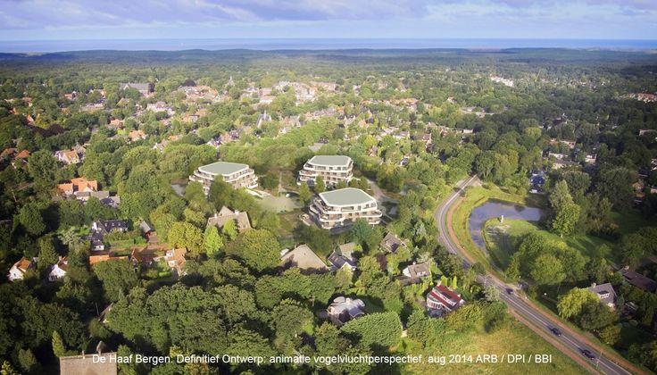 Bovenaanzicht villa's landgoed op de haaf Bergen Noord Holland