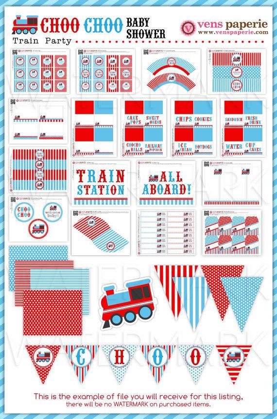 Vintage Choo-Choo Train Baby Shower Package by venspaperie on Etsy