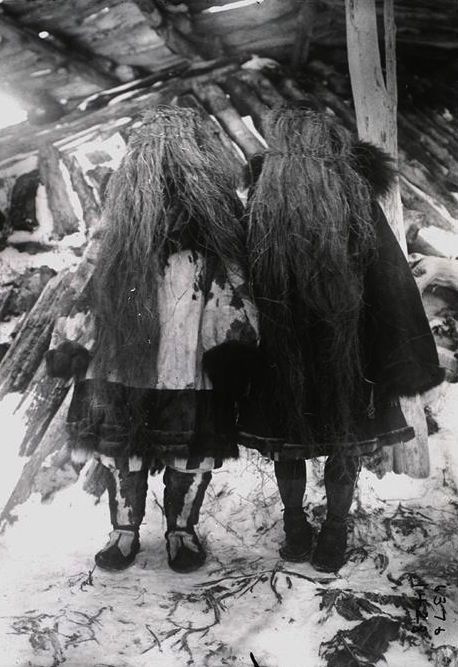 Koryak girls wearing grass masks, Siberia, 1900