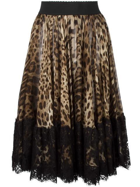 DOLCE & GABBANA Leopard Print Pleated Skirt. #dolcegabbana #cloth #skirt