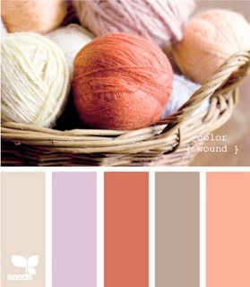 Coral color palette for girl's nursery - could maybe use both the coral and the lavender that I love?