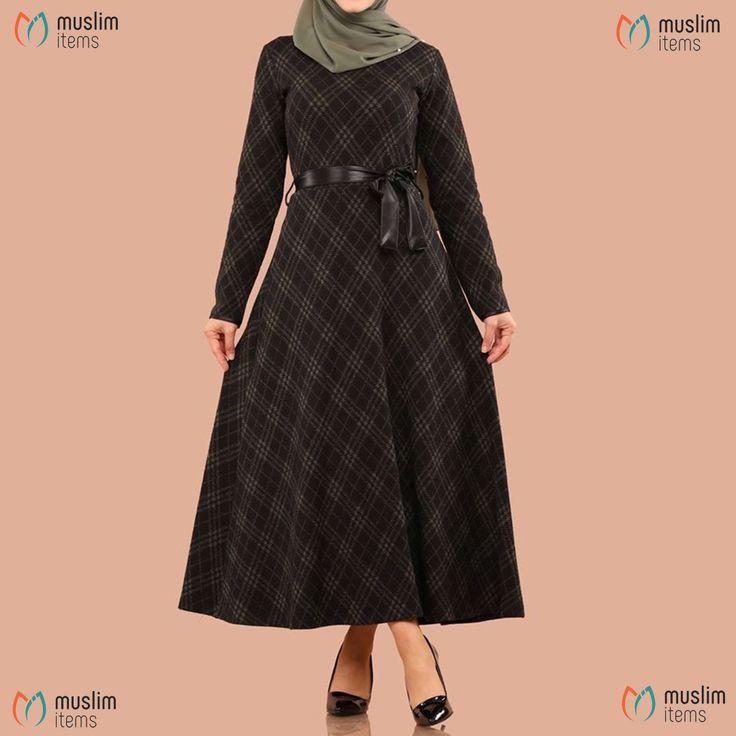 #muslimitems Leather Detailed Dress - Pattern 3 SKU: MIWC810264390  #hijab #hija...