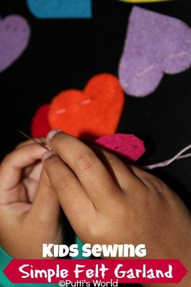 Kids Sewing Valentine Simple Felt Garland