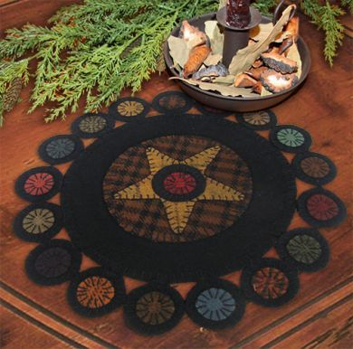 Primitive Gatherings Scrappy Primitive Pennies The Pattern Hutch wool applique table candle mat craft pattern