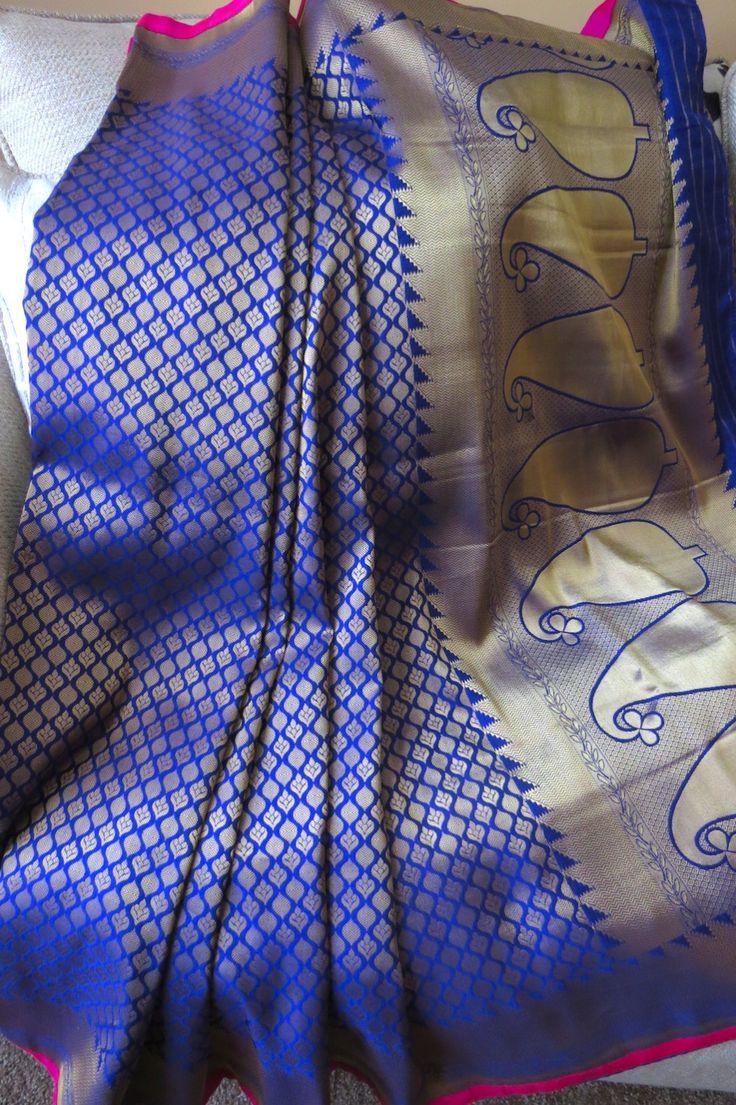 Purple benaras Saree by ZainabshCollection on Bonanza