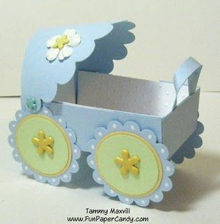 Baby Carriage Favor Box: Fun Paper, Shower Baby, Baby Shower Favors, Candy Demo, 3D Paper Crafts, Baby Carriage, Favors Boxes, Paper Candy, Baby Shower