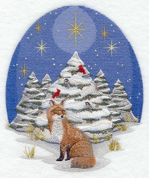 Embroidered Natures christmas fox quilt block,sewing,fox fabric,cushion panel