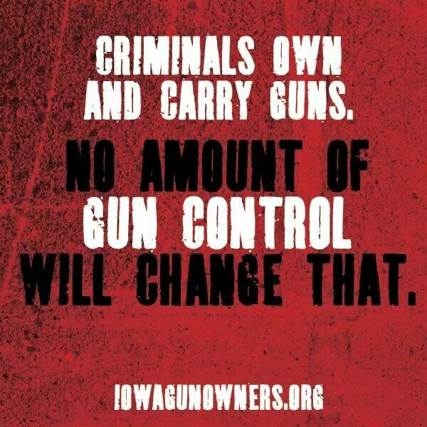Think about that kind of gun control - guns only in the hands of criminals and the government.