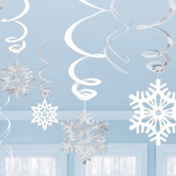 Christmas Snowflakes and Swirls Decorations x 12: Amazon.co.uk: Toys & Games £4.99