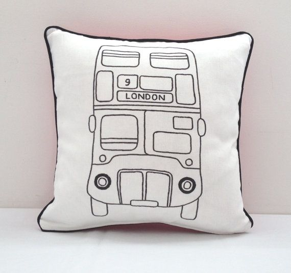 Colouring In London Bus Design Cushion Cover  by SimplyAddColour