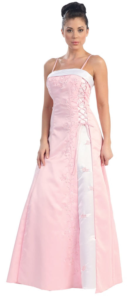 SALE!! Pink And White Lace Up Floral Embroidered Prom Dress-Size: 4 to 20