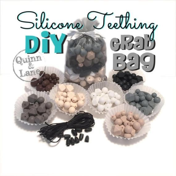Neutrals  GRAB BAG of Silicone Beads  DIY Supplies  Loose