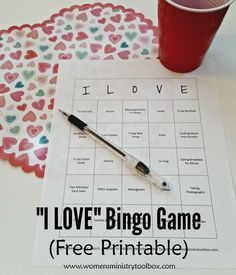 "Do you love history? Trying new things? Spicy foods? This game uncovers what the women in the room ""love"". Get the free printable at Women's Ministry Toolbox."
