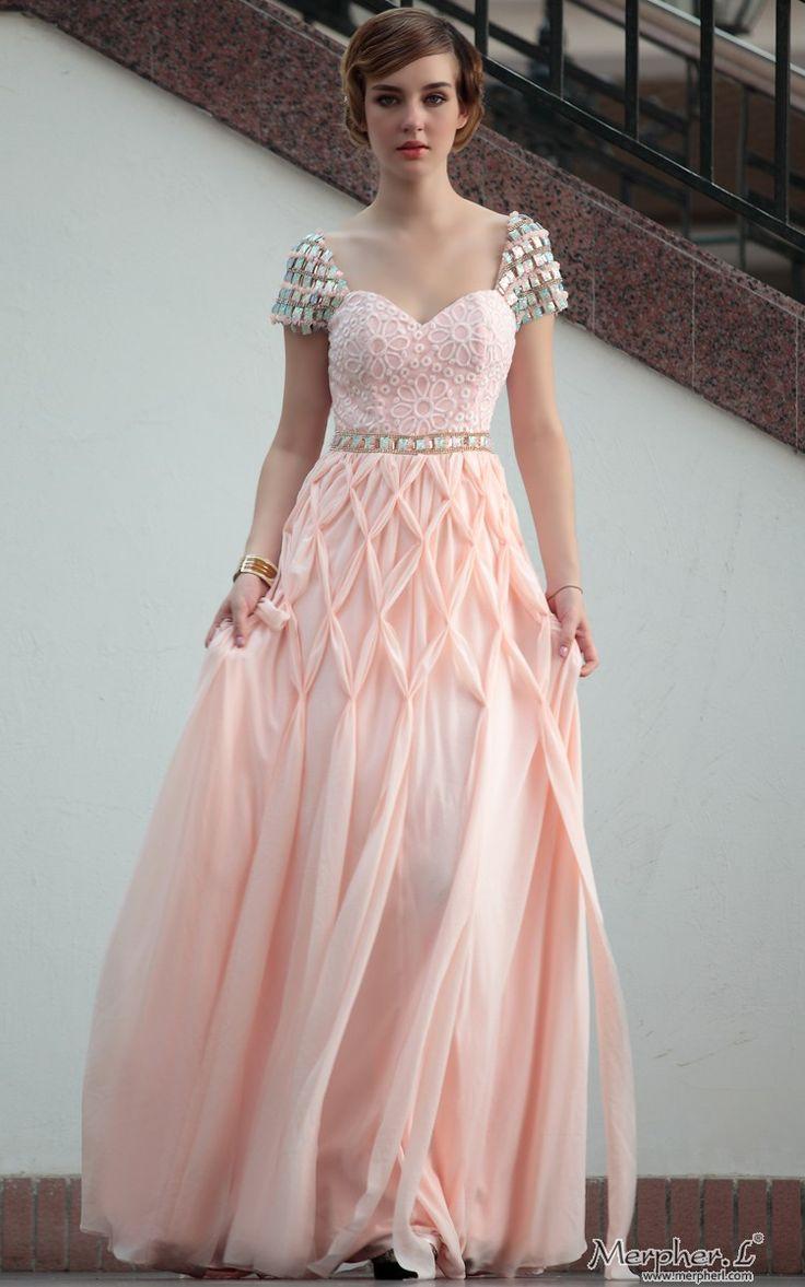 Peach Sweetheart Neck Cap Sleeve  Floor Length  Gowns Evening Dress - beautiful smocked skirt