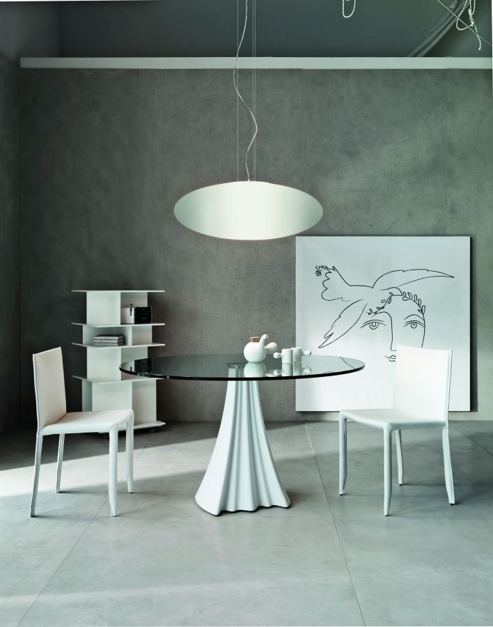 Sipario Bistrot Round Glass Top Dining Kitchen Table By Cattelan Italia