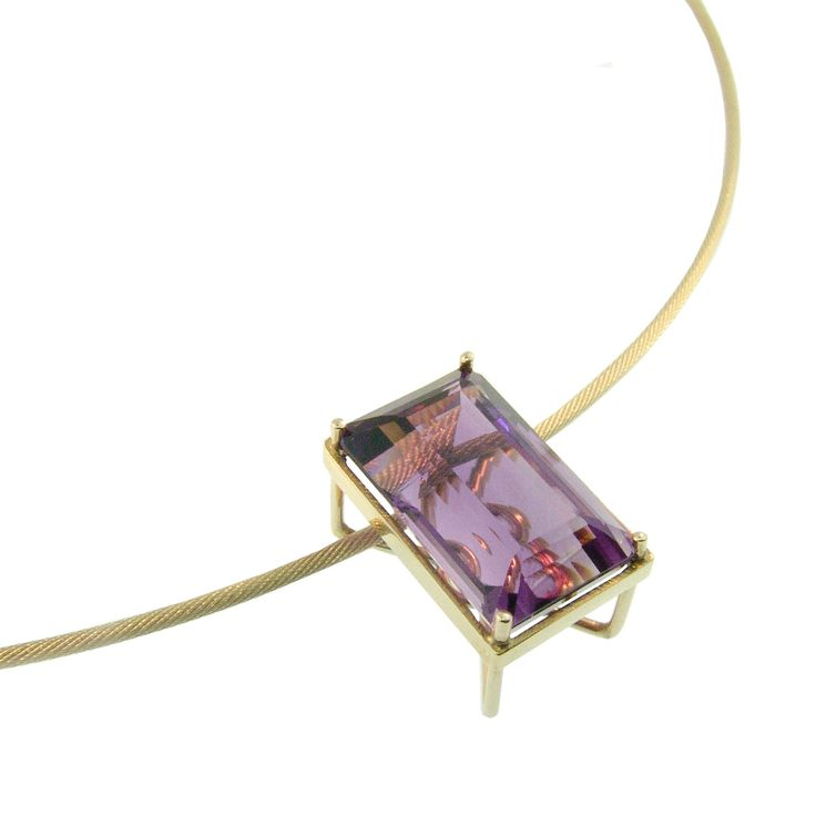 9ct Yellow Gold & Amethyst Pendant. Handmade at Cameron Jewellery. NZD$995.00