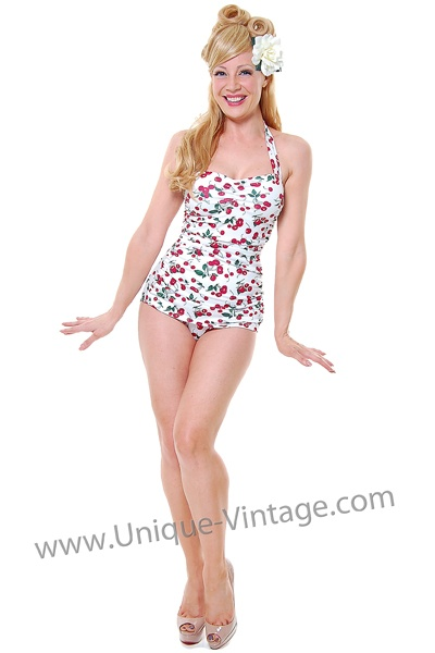 Vintage Inspired Swimsuit 50's Style Pin Up White Cherry Bathing SuitVintage Swimsuits, Cherries Swimsuits, Bathing Suits, Swimming Suits, Bath Suits, White Cherries, Cherries Bath, Cherries Prints, Inspiration Swimsuits