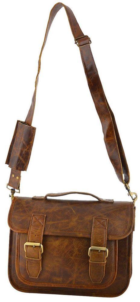 real leather brown unisex messenger bag 13