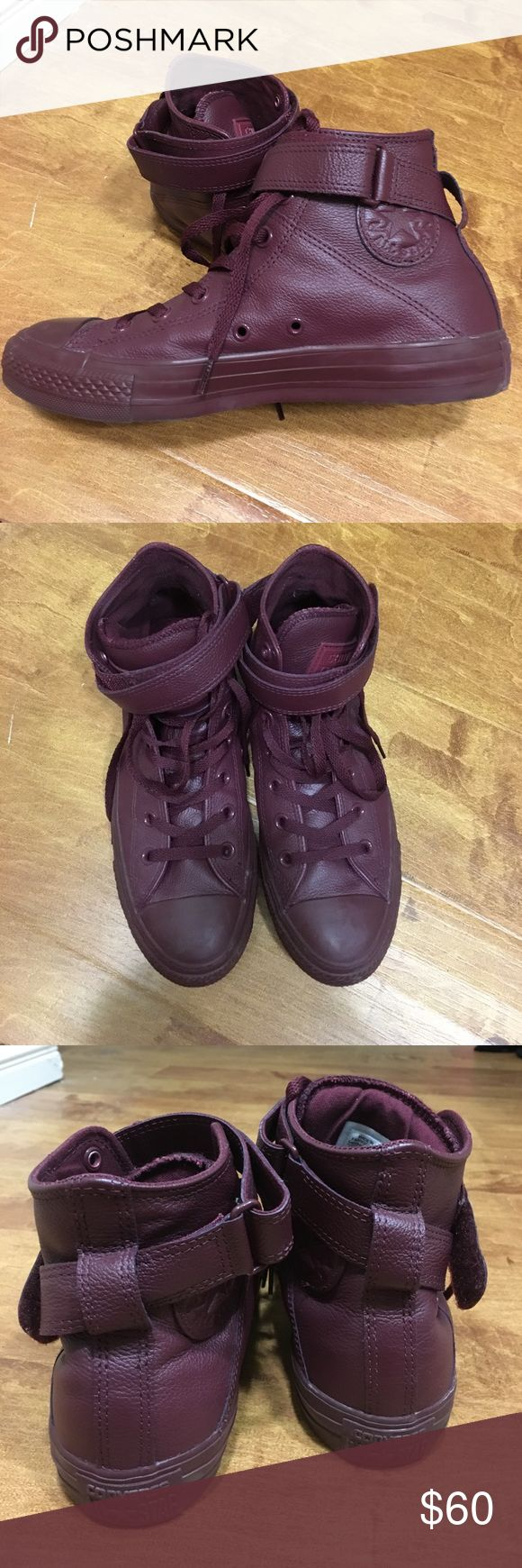 Maroon leather Converse high tops Women's converse high tops - Leather in a maroon/wine color. Very lightly worn. Converse Shoes Sneakers