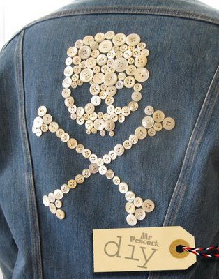 DIY Button Homage to Patrick Kelly. Can also do monograms on pillows, button skull tutorial!