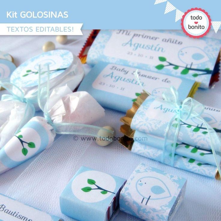 Pajarito celeste: kit etiquetas de golosinas - Todo Bonito