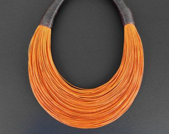 Statement Fiber Necklace, African Jewelry, Street Fashion, Trending Necklace, Bold Necklace