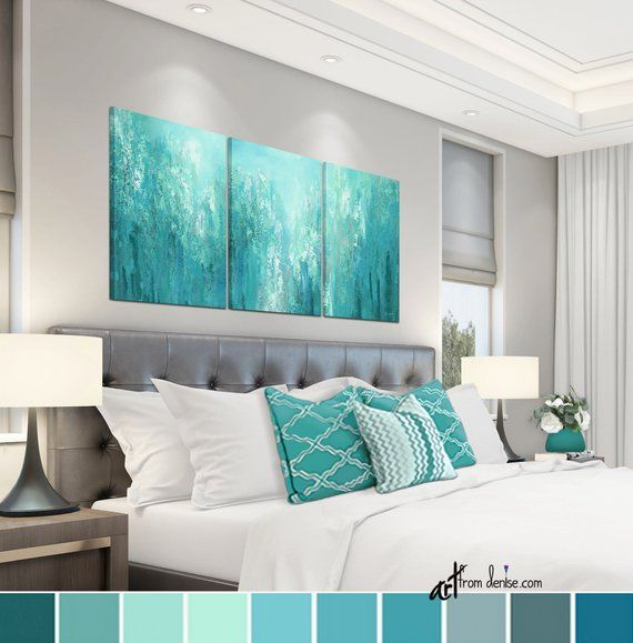 Teal Green Gray Abstract Extra Large 3 Piece Canvas Set Sage Etsy Blue Abstract Wall Art Teal Wall Art Abstract Canvas Wall Art #teal #wall #art #for #living #room