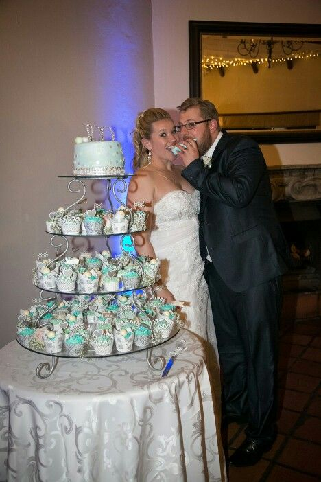 Mint and blue wedding cupcake tower