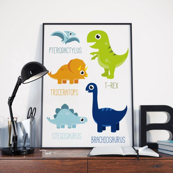 Printable Dinosaur Poster  dino poster boys room by HayahDesigns