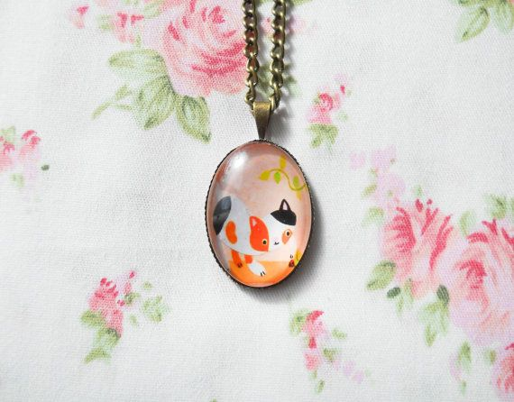 Calico Cat Necklace, Cute Necklace, Kitty Necklace, Kitten Necklace, Antique Bronze, Vintage Cat, Kawaii Necklace, Cat Cabochon