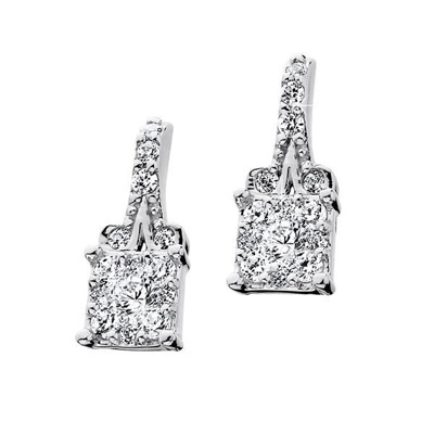 1/3 CT. T.W. Endless Diamond® Squared Earrings in 14K White Gold