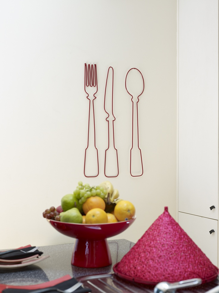 Satachi cutlery wall art in red...
