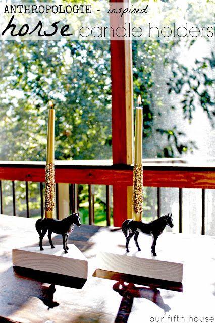 Anthropologie knock off horse candle holder