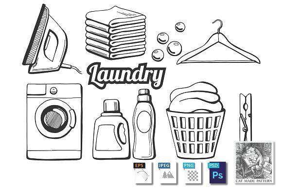 Laundry Icons Set Laundry Icons Soap Bubbles Basket Drawing