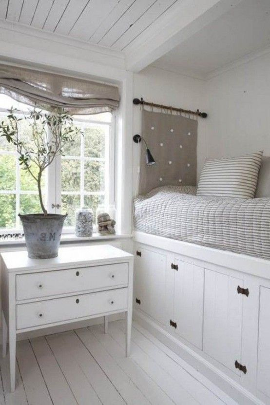 44 Smart Bedroom Storage Ideas   DigsDigs - tricky for a doble bed but... oh so lovely. :)